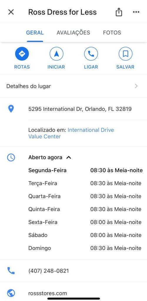 Horarios em Orlando