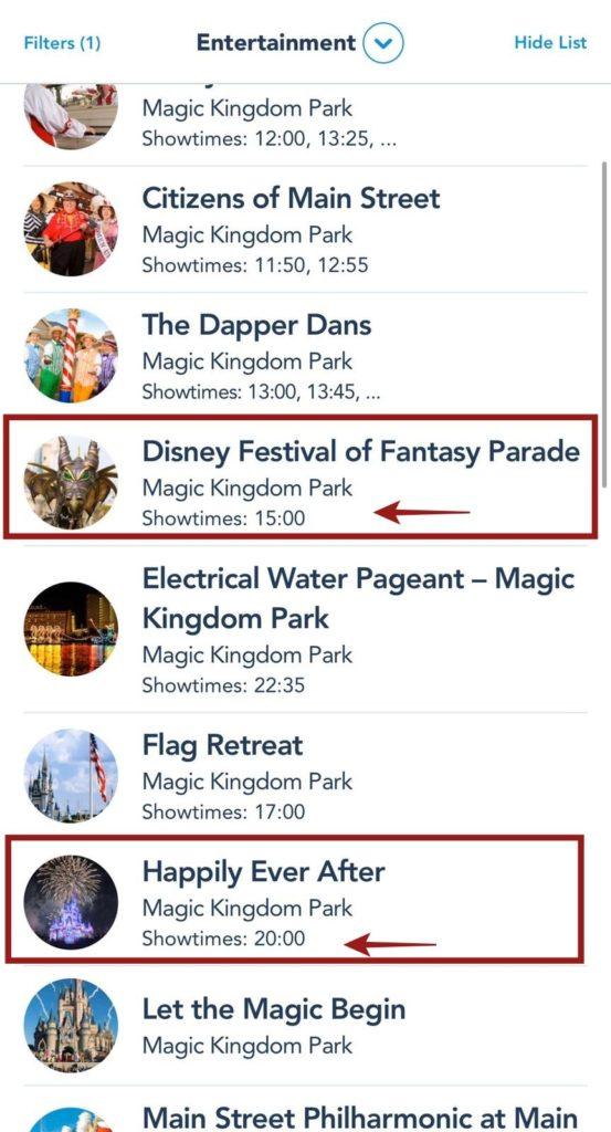horario atrações magic kingdom