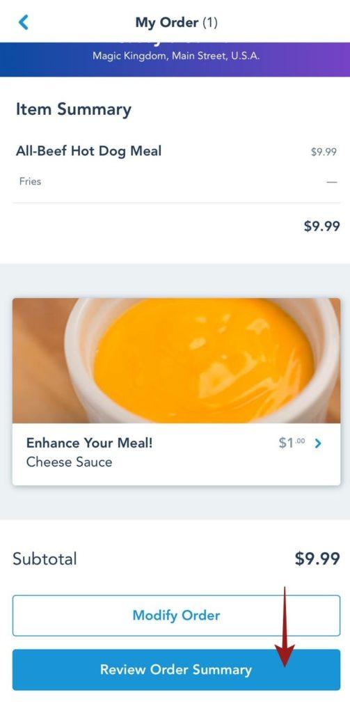 Como pedir comida pelo celular na Disney