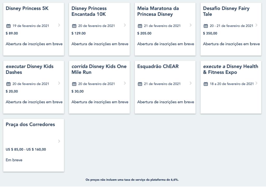 Inscrições das Corridas da Disney de 2021